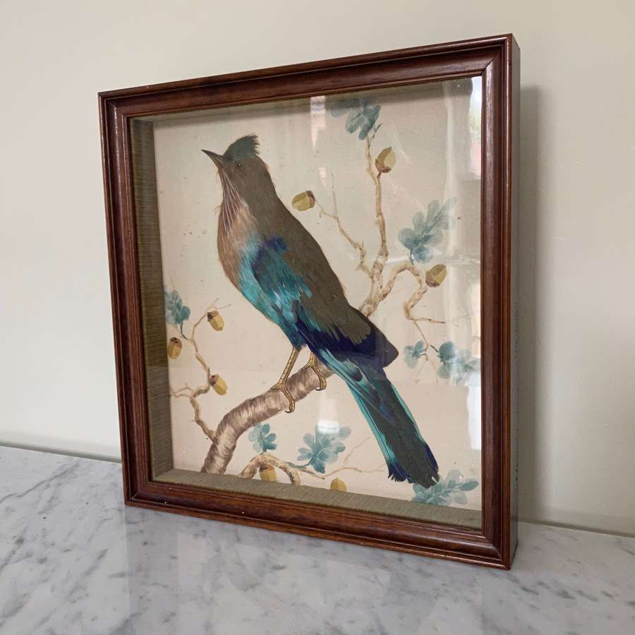 1940s Feathered Bird Picture with Hand Painted Watercolour Background