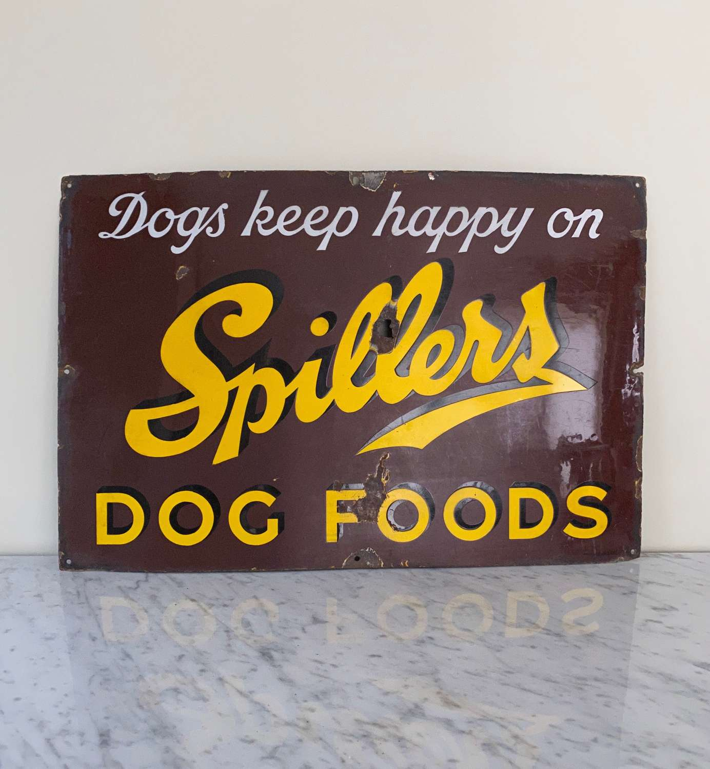 Early 20th Century Enamel Advertising Sign - Spillers Dog Food