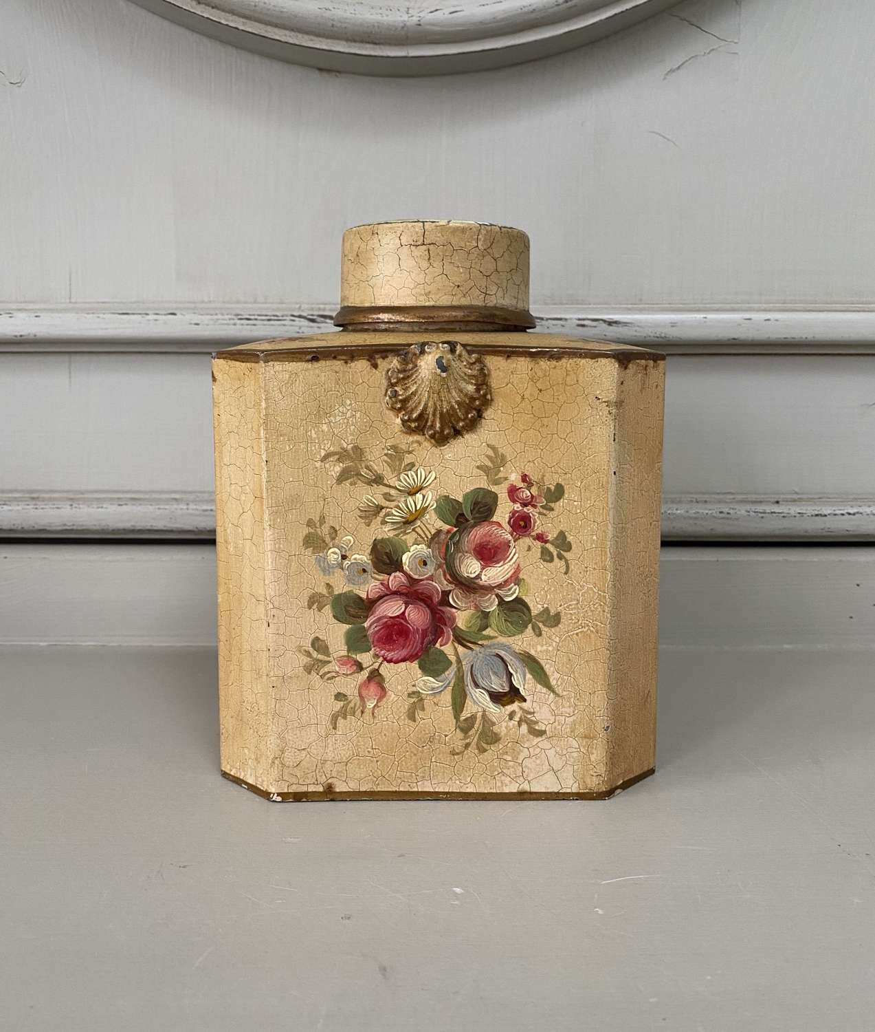 Mid Century Good Size Toleware Tea Caddy with Tin Cylindrical Inner