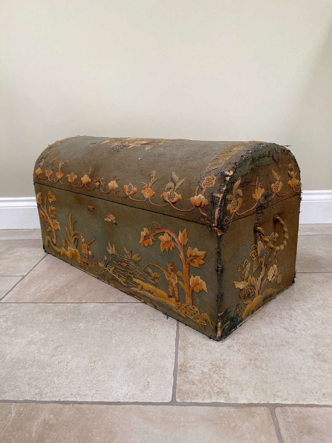 Early 20th Century Dome Top Crewel Work Covered Box