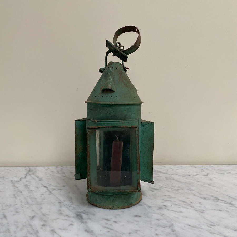 Early 20th Century Candle Lantern in Original Paint