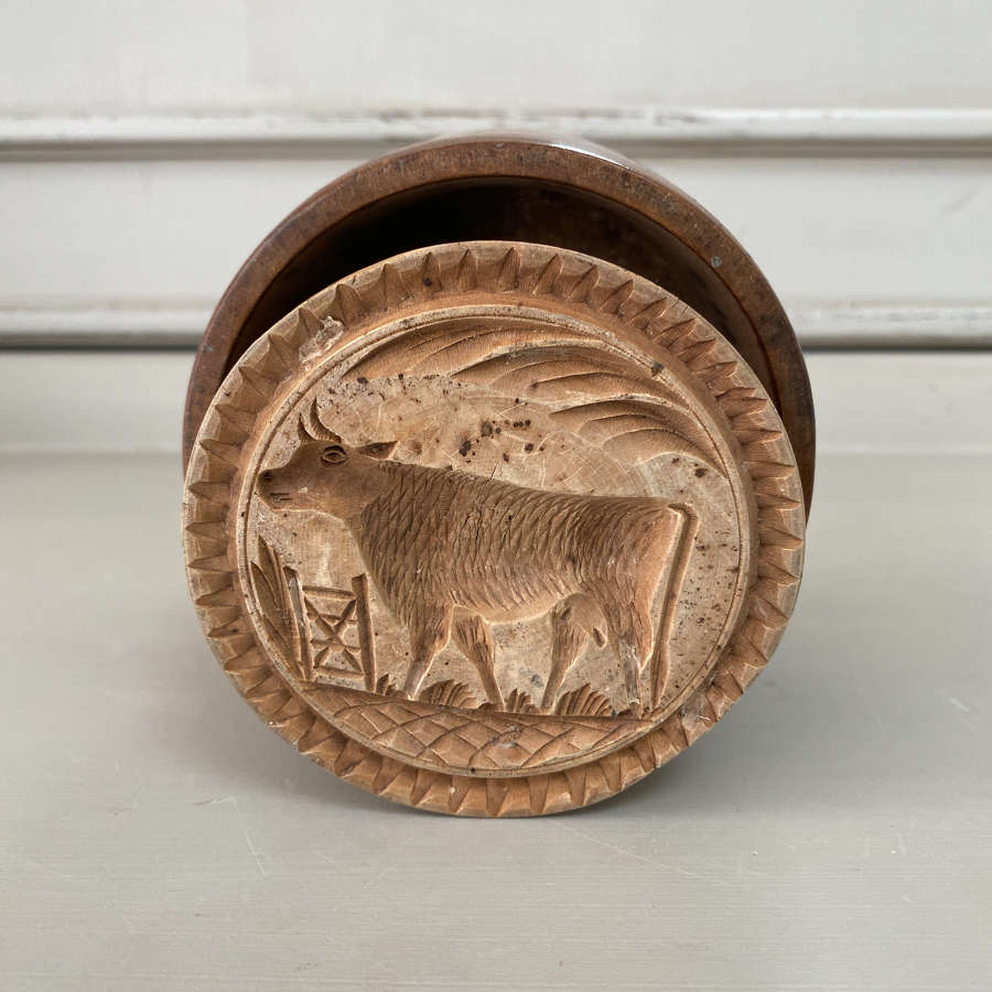 Victorian Two Part Carved Butter Stamp - Prize Dairy Cow