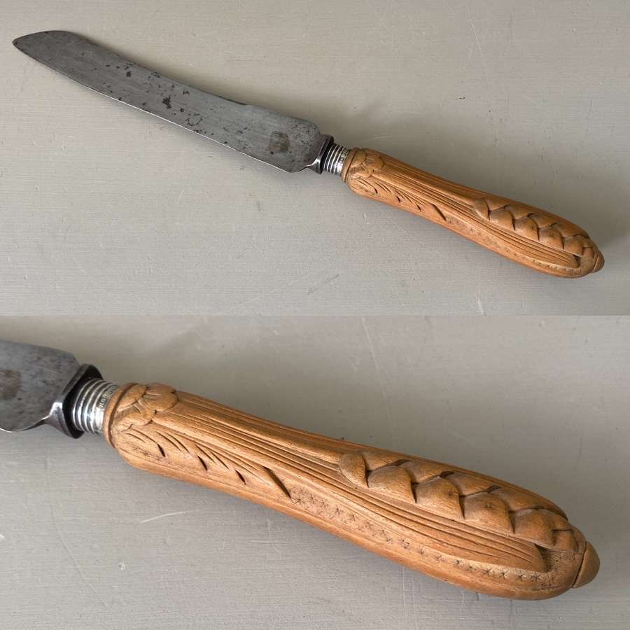 Late Victorian Bread Knife - Carved Wooden Handle & Silver Collar