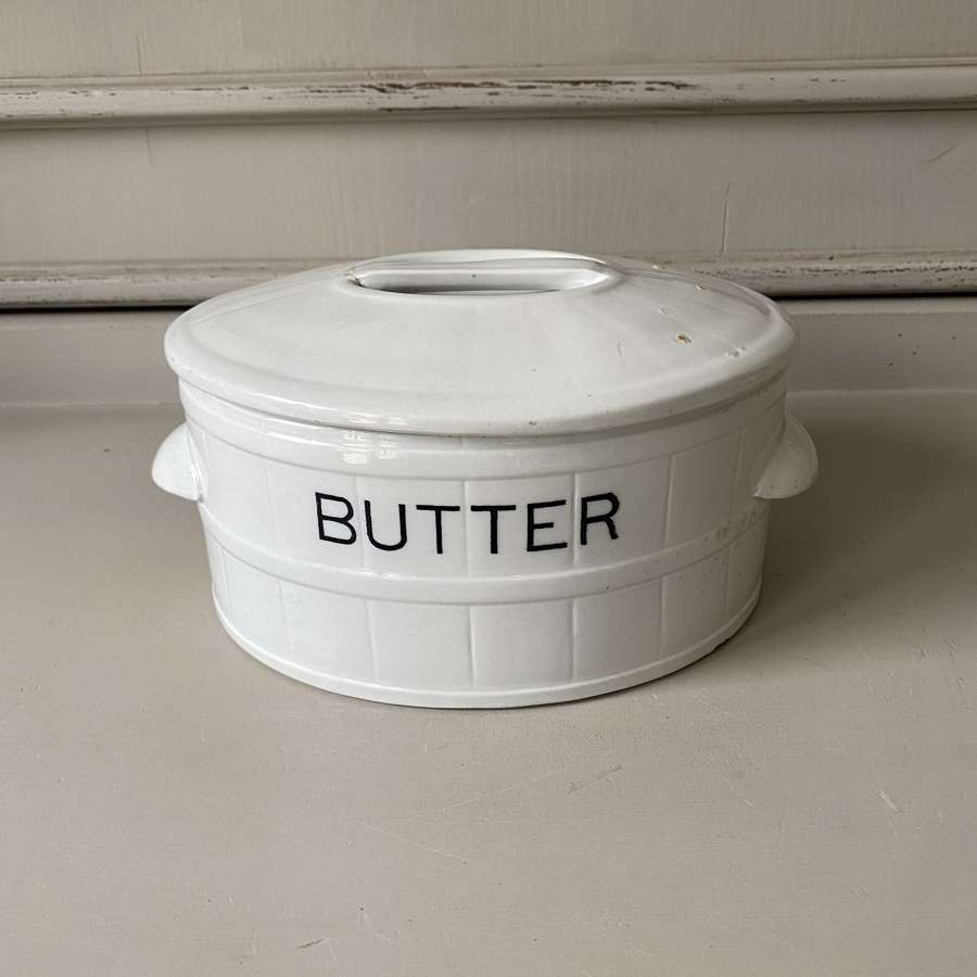 Edwardian White Ironstone Butter Dish with Original Lid A/F