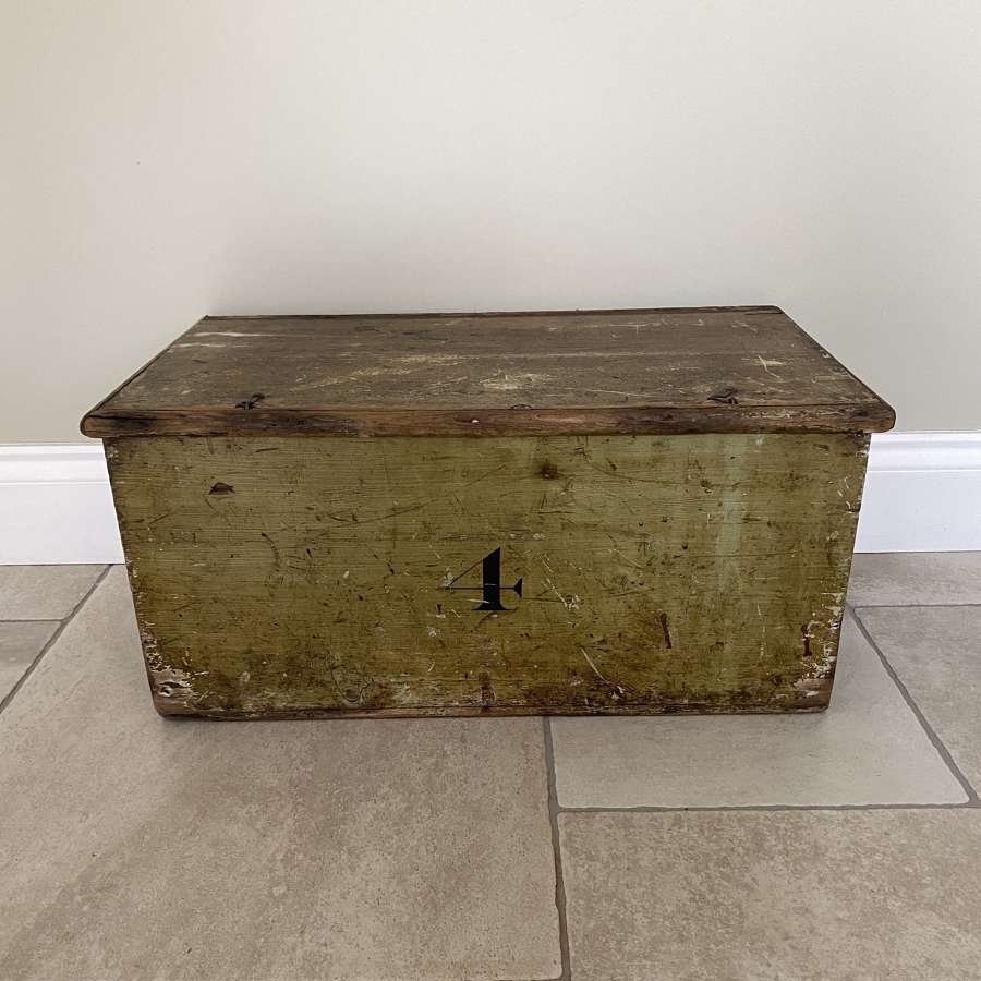 Victorian Pine Box in its Original Green Paint - No. 4