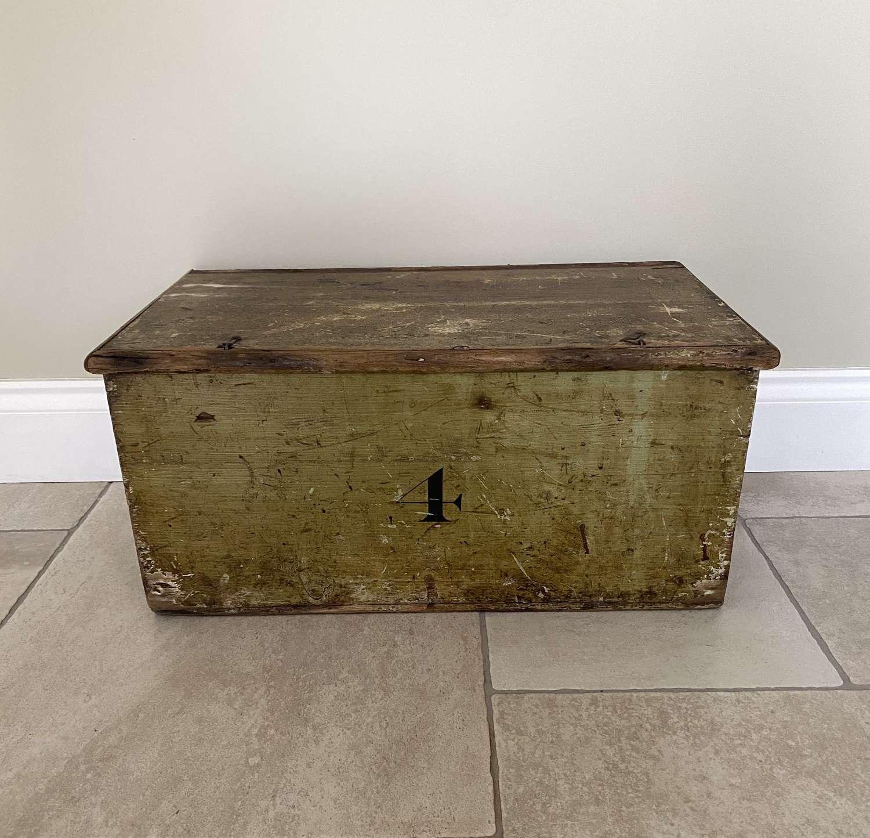 Victorian Pine Box in its Original Green Paint - No. 4