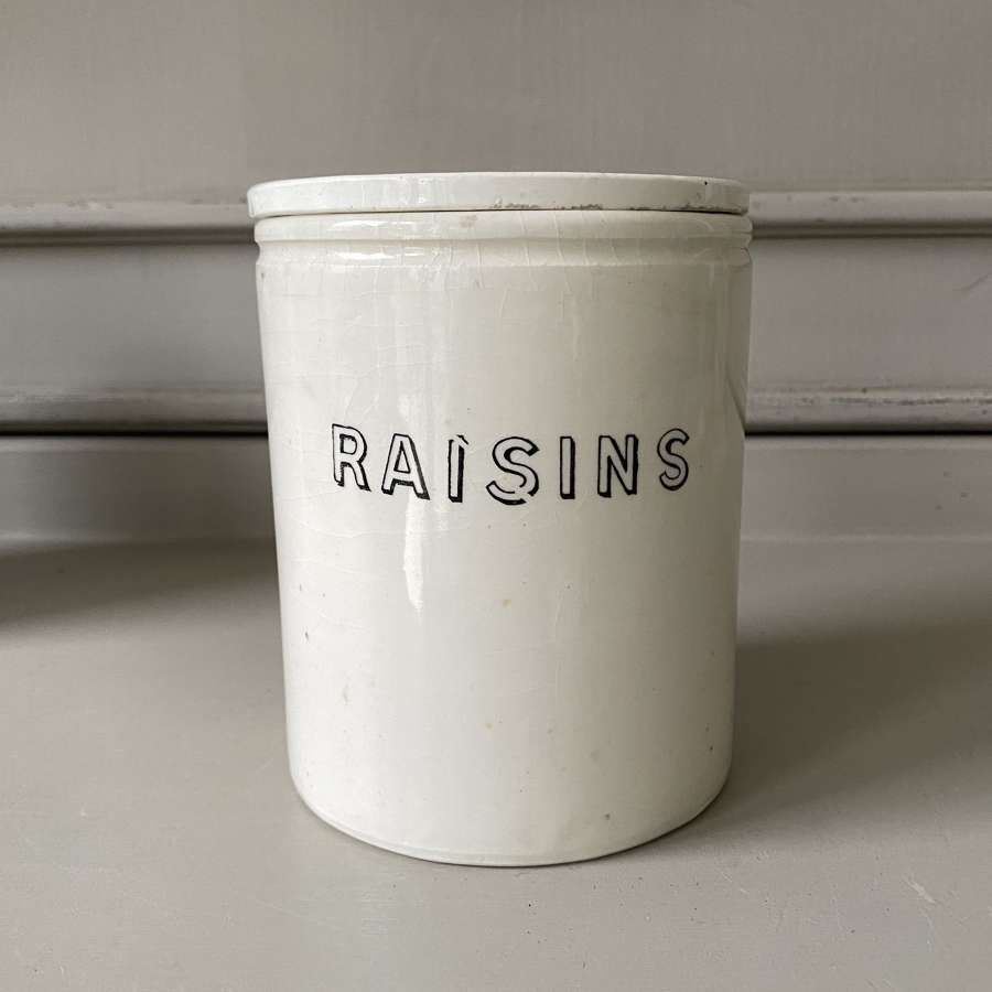 Late Victorian White Ironstone Kitchen Jar with Original Lid - Raisins