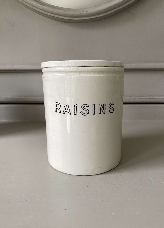 Late Victorian White Ironstone Kitchen Jar with Original Lid - Raisins