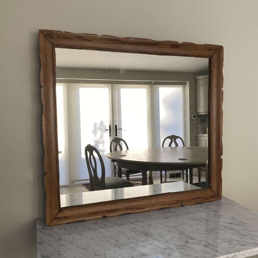 Large Victorian Pine Framed Mirror - Attractive Shaped Edge