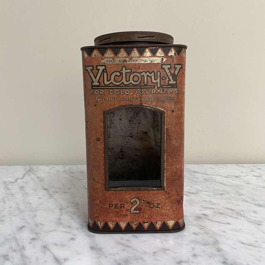 Victory V Shops Sweet Tin with Original Glass Front c1920