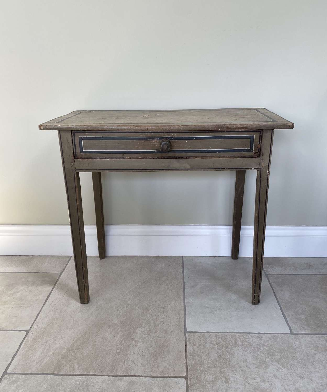 Victorian Pine Table with Single Drawer in Fantastic Original Paint