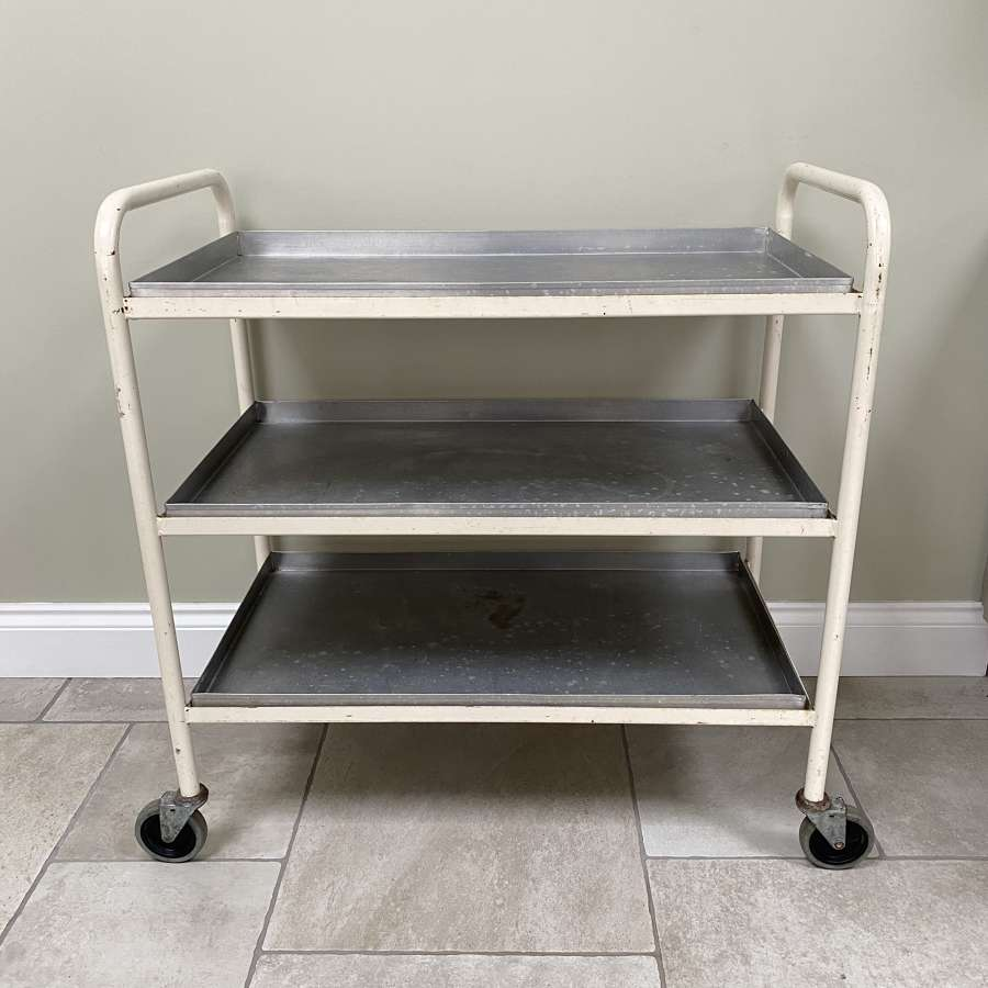 Mid Century Metal Trolley with Removeable Aluminium Trays