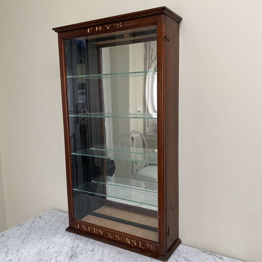 Tall Edwardian Shop's Wall Hung Advertising Cabinet for JS Fry & Son