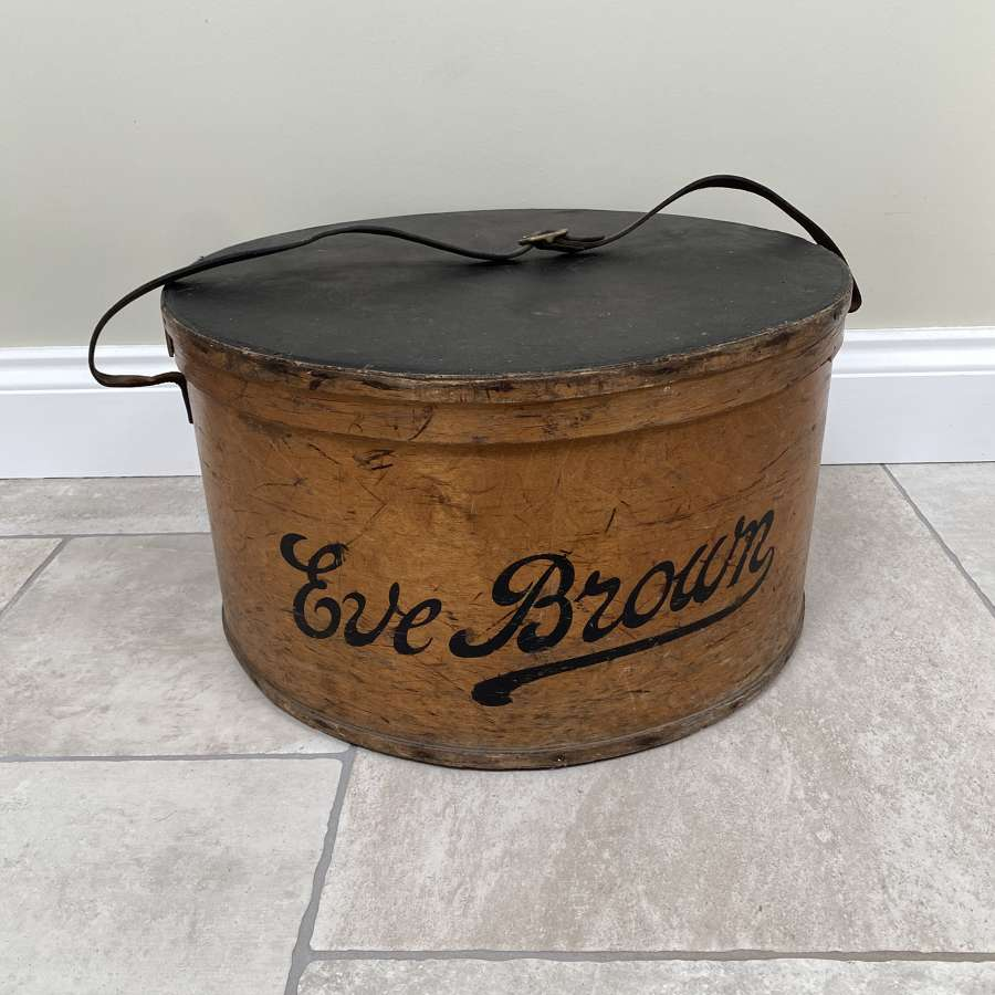 Large Edwardian Bentwood Hat Box - Eve Brown - Original Paint