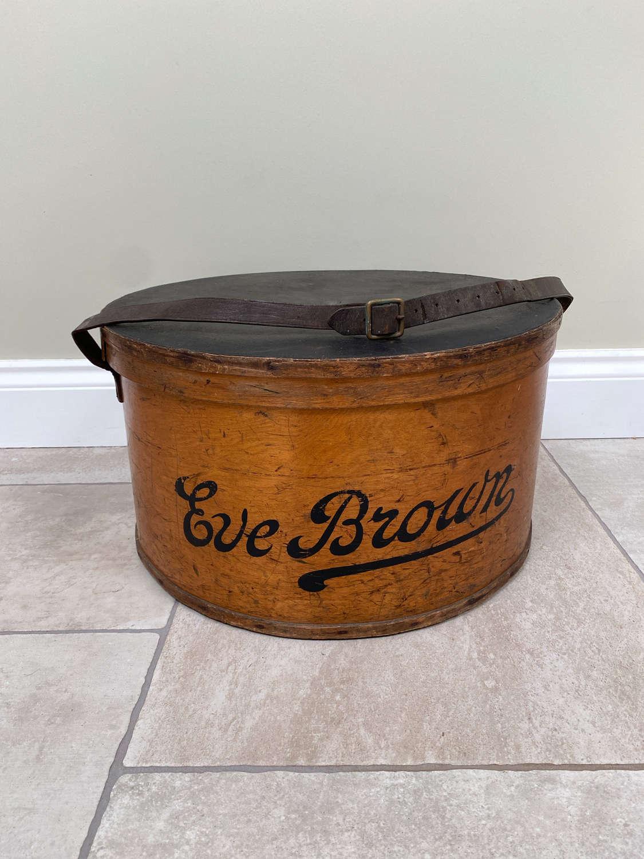 Large Edwardian Bentwood Hat Box - Eve Brown - Original Paint
