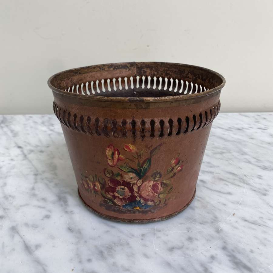 Early 20th Century Toleware Jardiniere with Fretwork Top