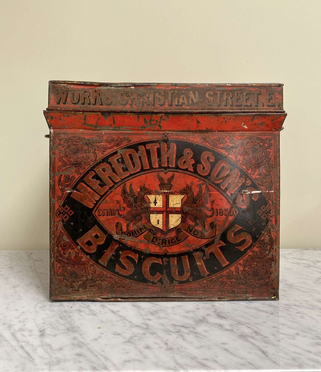 Super Rare Victorian Meredith & Sons Biscuit Trunk C1860-80