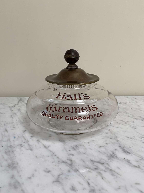 Rare Edwardian Shop's Advertising Glass Sweet Jar - Halls Caramels