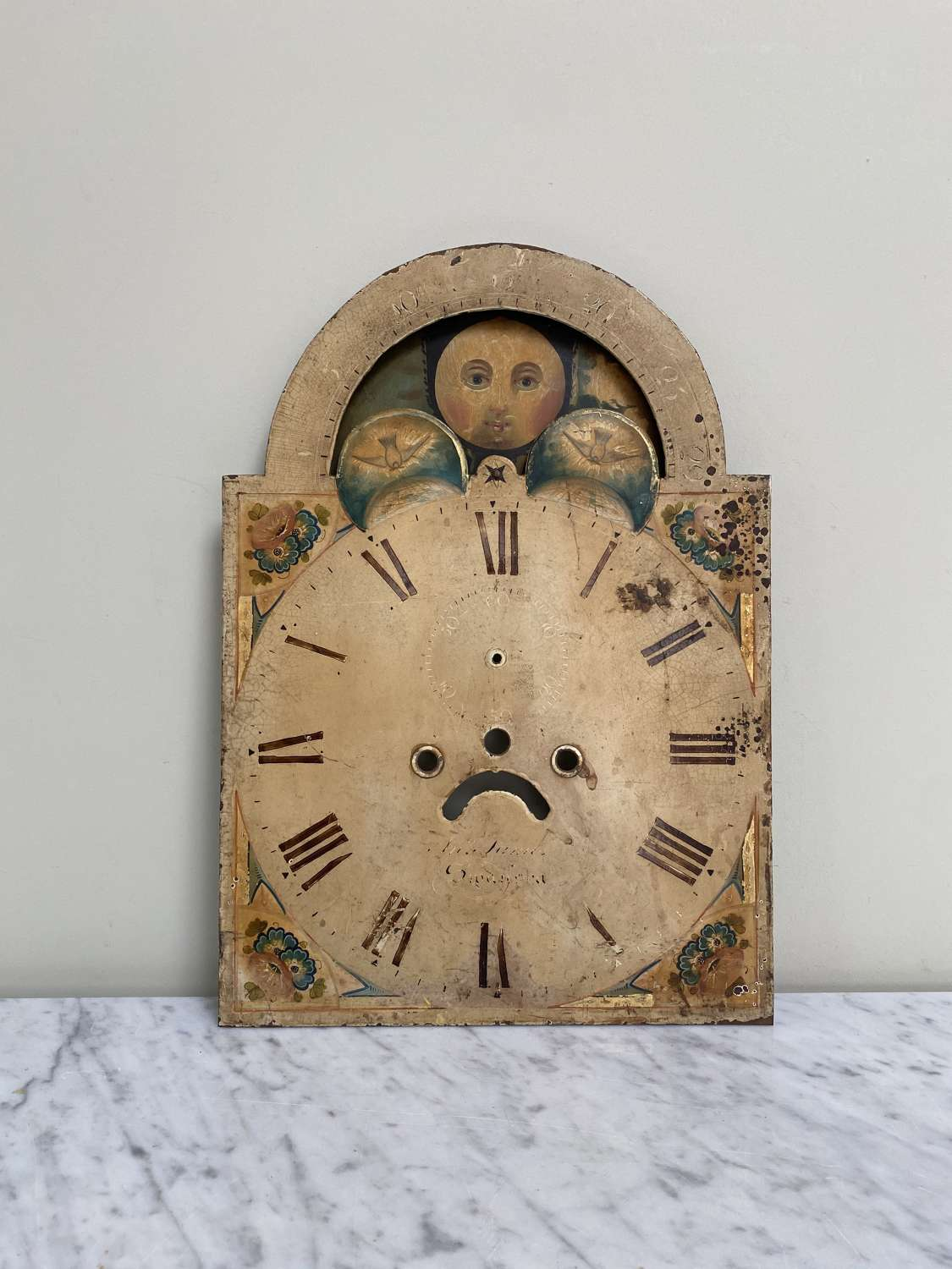 Victorian Man in the Moon Clock Face -Moving Top-Fantastic Orig Paint