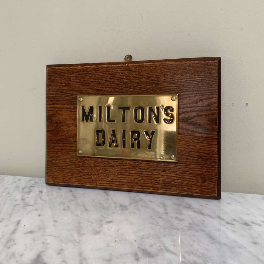 Late Victorian Brass Miltons Dairy Sign Mounted on Oak Board