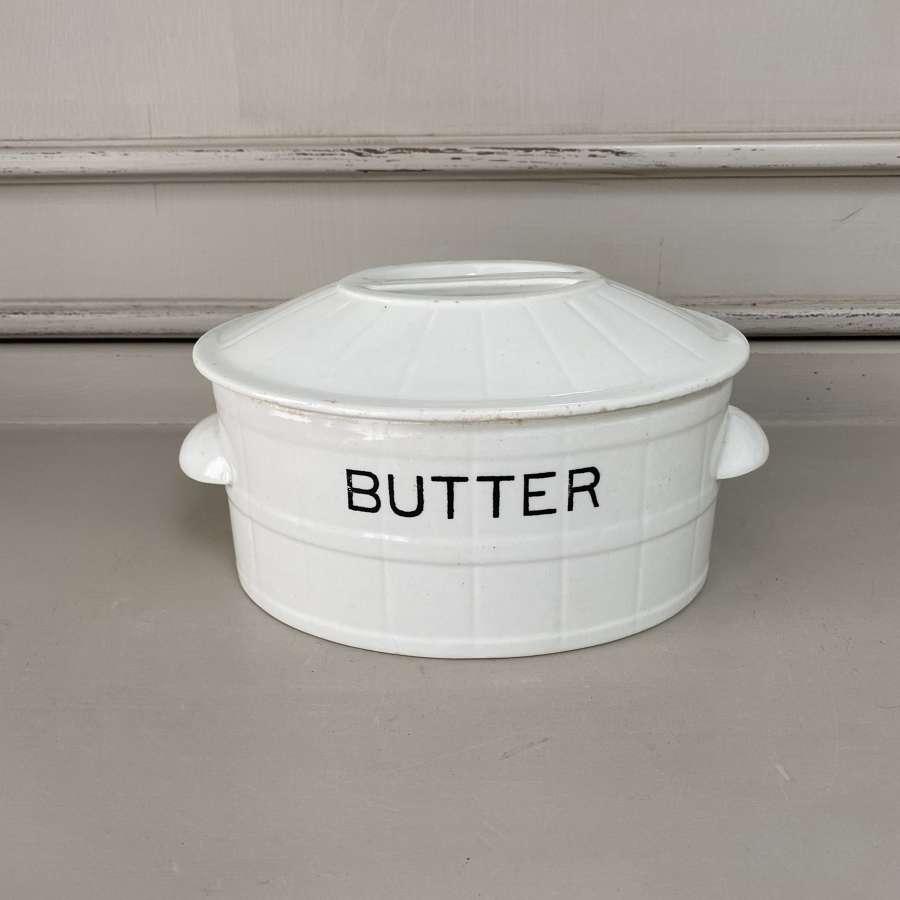 Edwardian White Ironstone Butter Dish with Original Lid