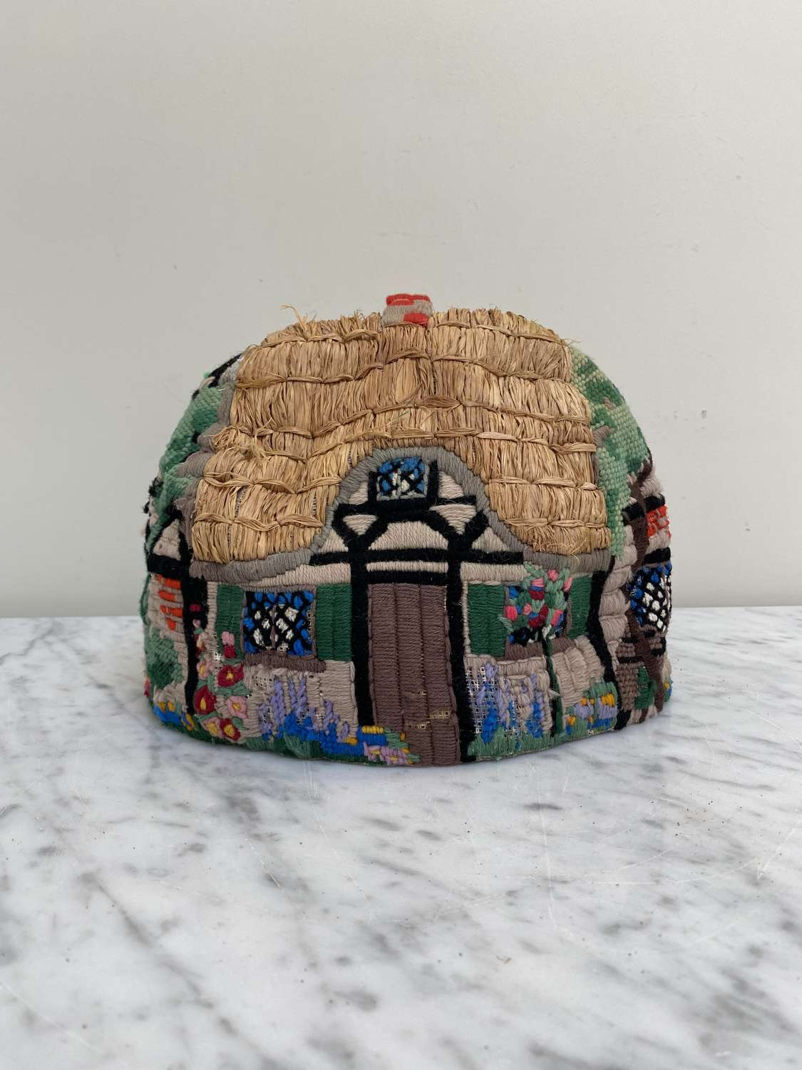 1930s Hand Stitched Cottage Tea Cosy with Thatched Roof