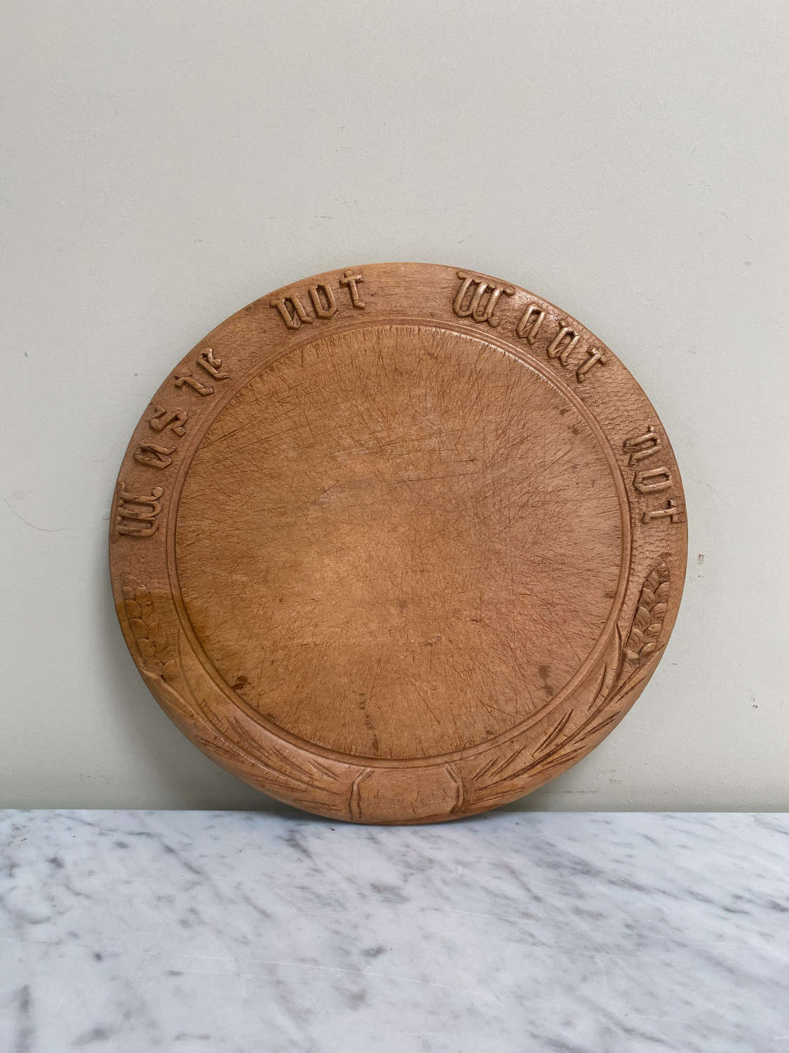 Late Victorian Carved Bread Board - Waste Not Want Not