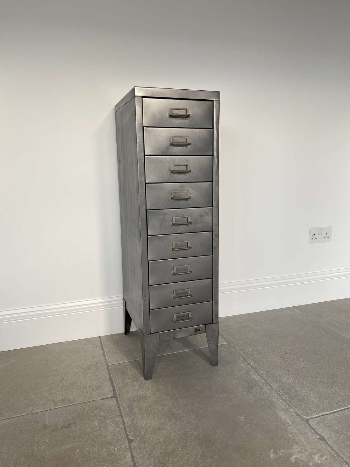 Mid Century Polished Steel Flight of Nine Drawers