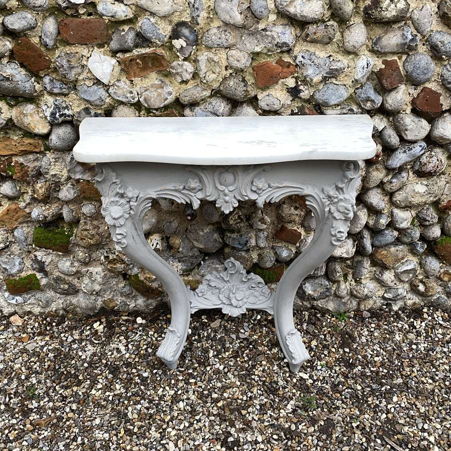 Victorian Console Table with its Original Shaped White Marble Top