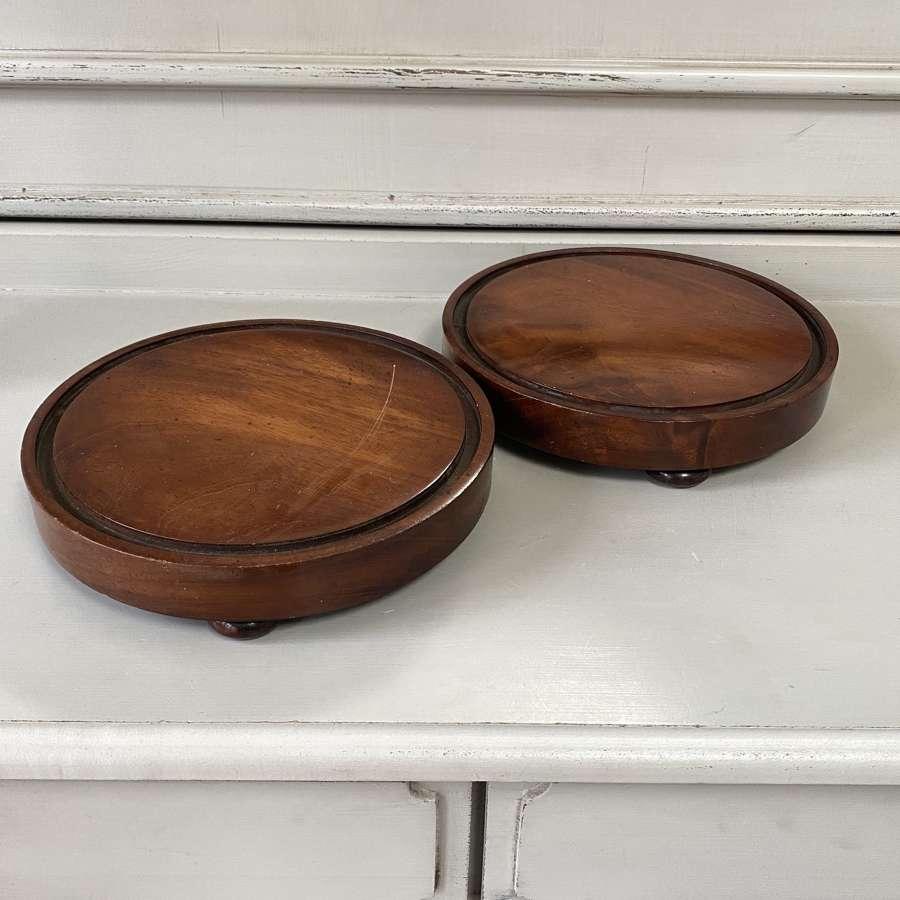 Pair of Late Victorian Mahogony Table Coasters