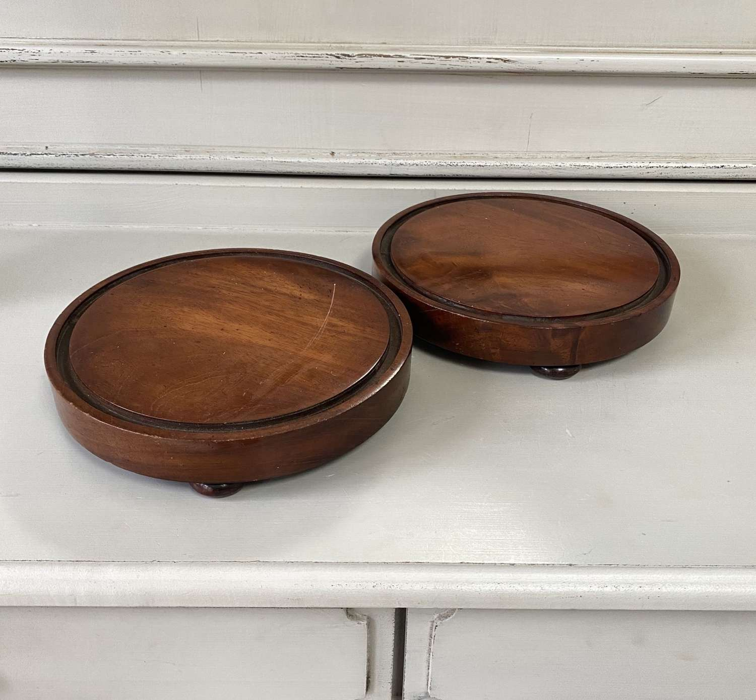 Pair of Late Victorian Mahogony Table Coasters