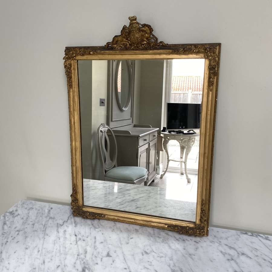 Late Victorian Giltwood Mirror with Royal Crest Top