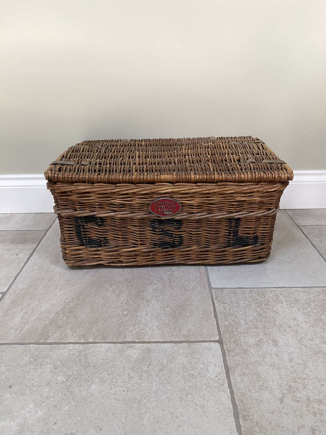 Early 20thC Laundry Basket with Plaque - Croydon Sanitary Laundry