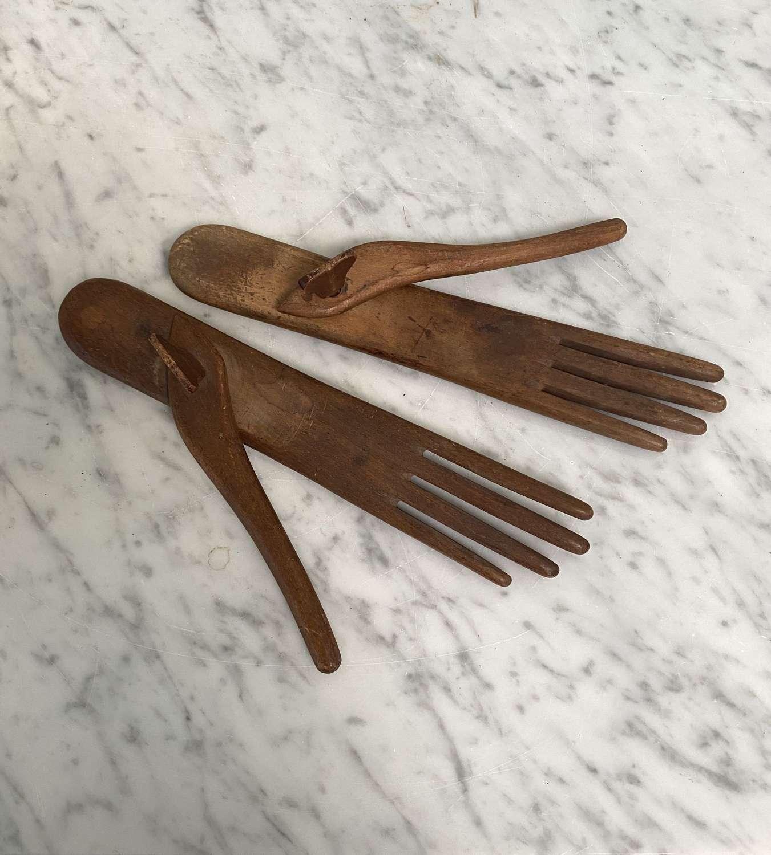 Rare Georgian Treen Pair of Lady's Glove Stretchers - Driers