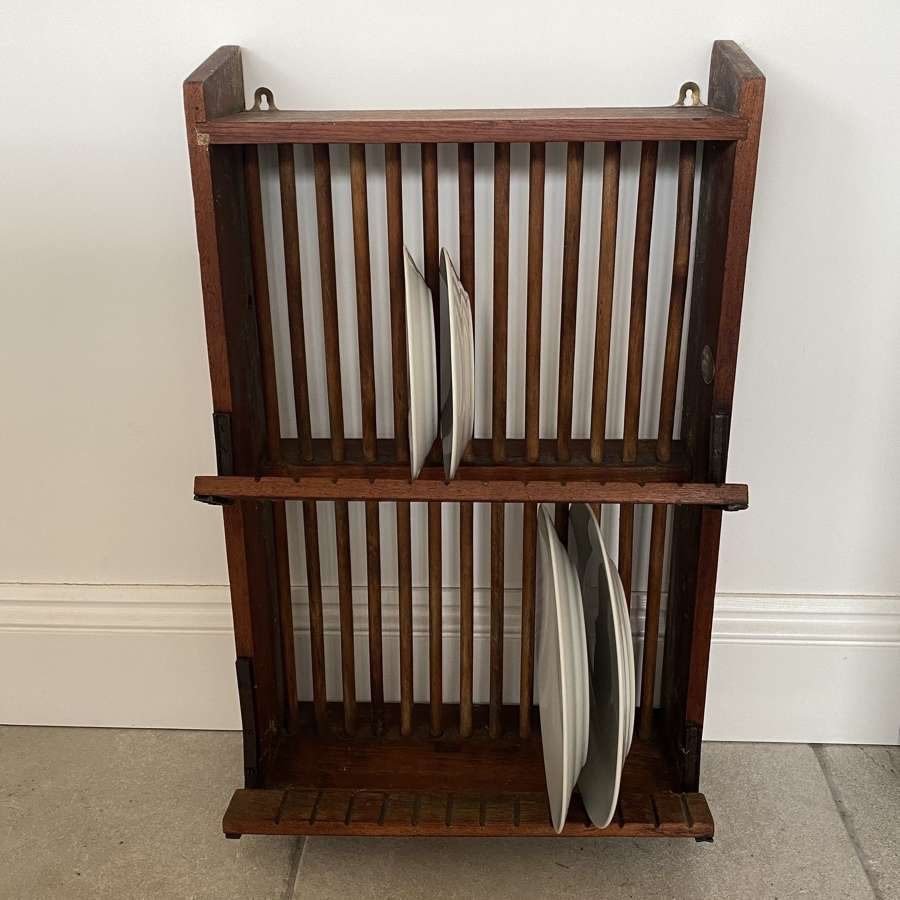 Early 20th Century Staines Wall Hung Plate Rack with Plaque