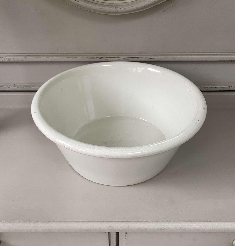 Doulton Large White Ironstone Dairy Bowl - Makes Great Fruit Bowl