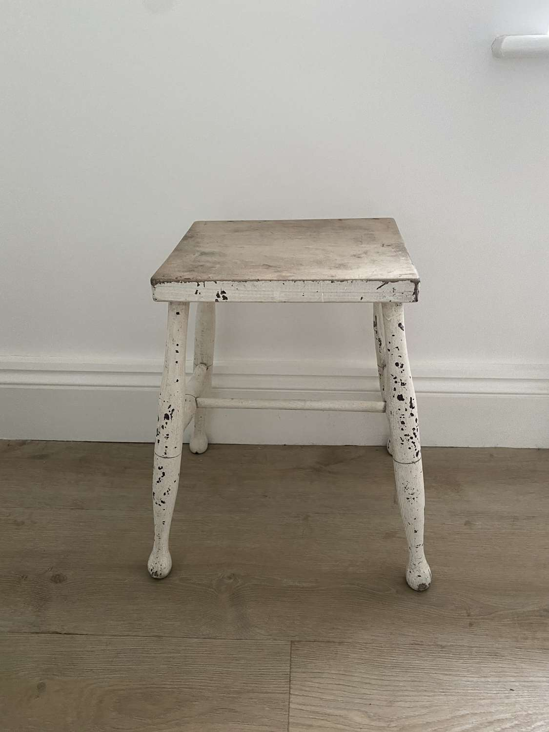 Antique Stool - Sofa Side Table - Original White Paint