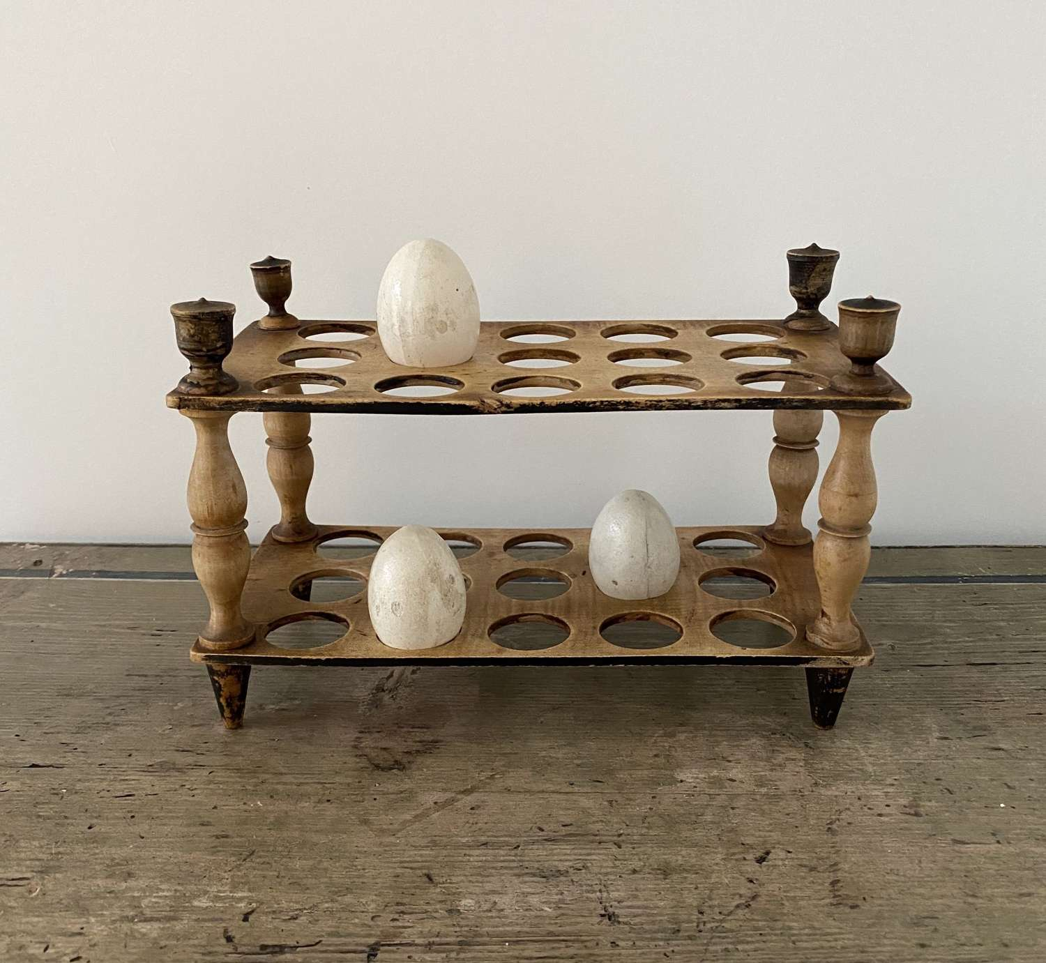 Late Victorian Treen Two Tier Egg Rack with Turned Column Supports