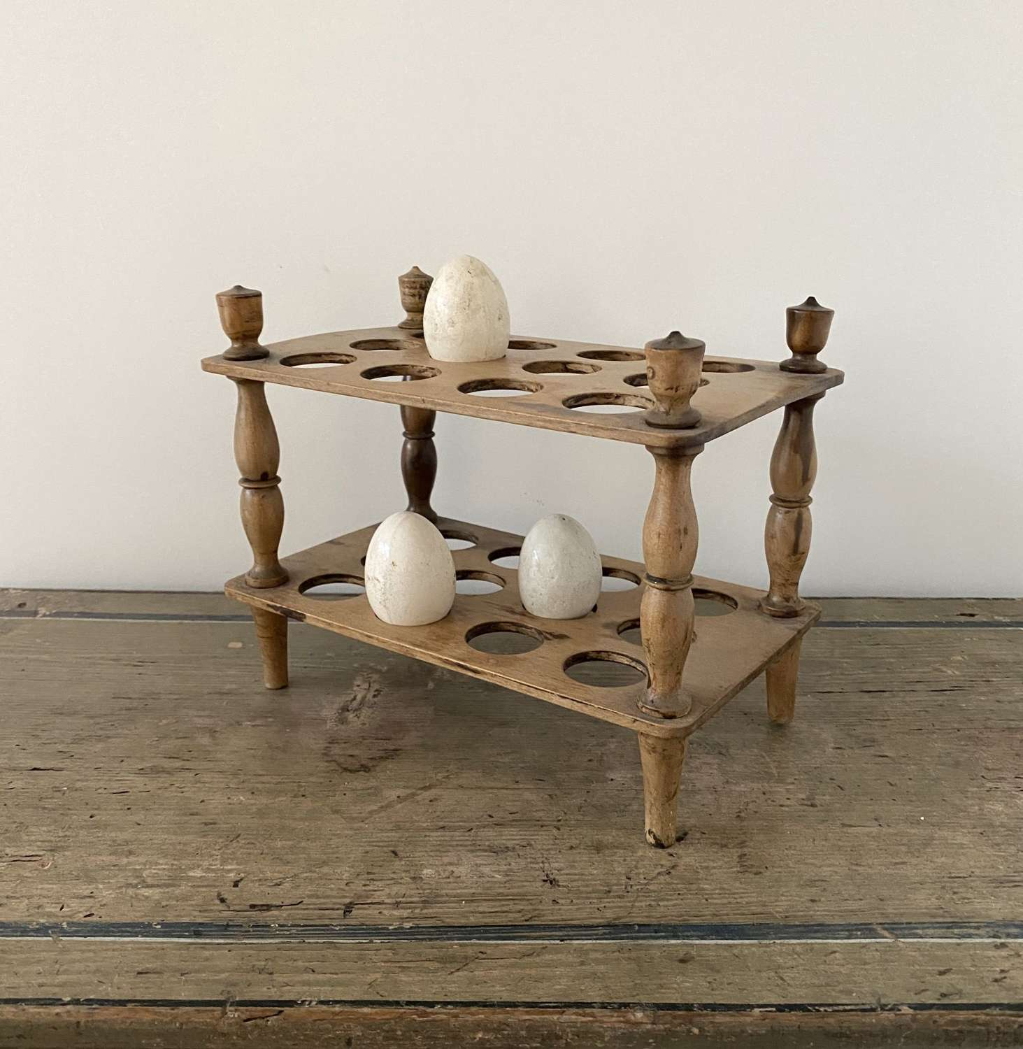 Victorian Two Tier Treen Pearwood Egg Rack - Turned Column Supports