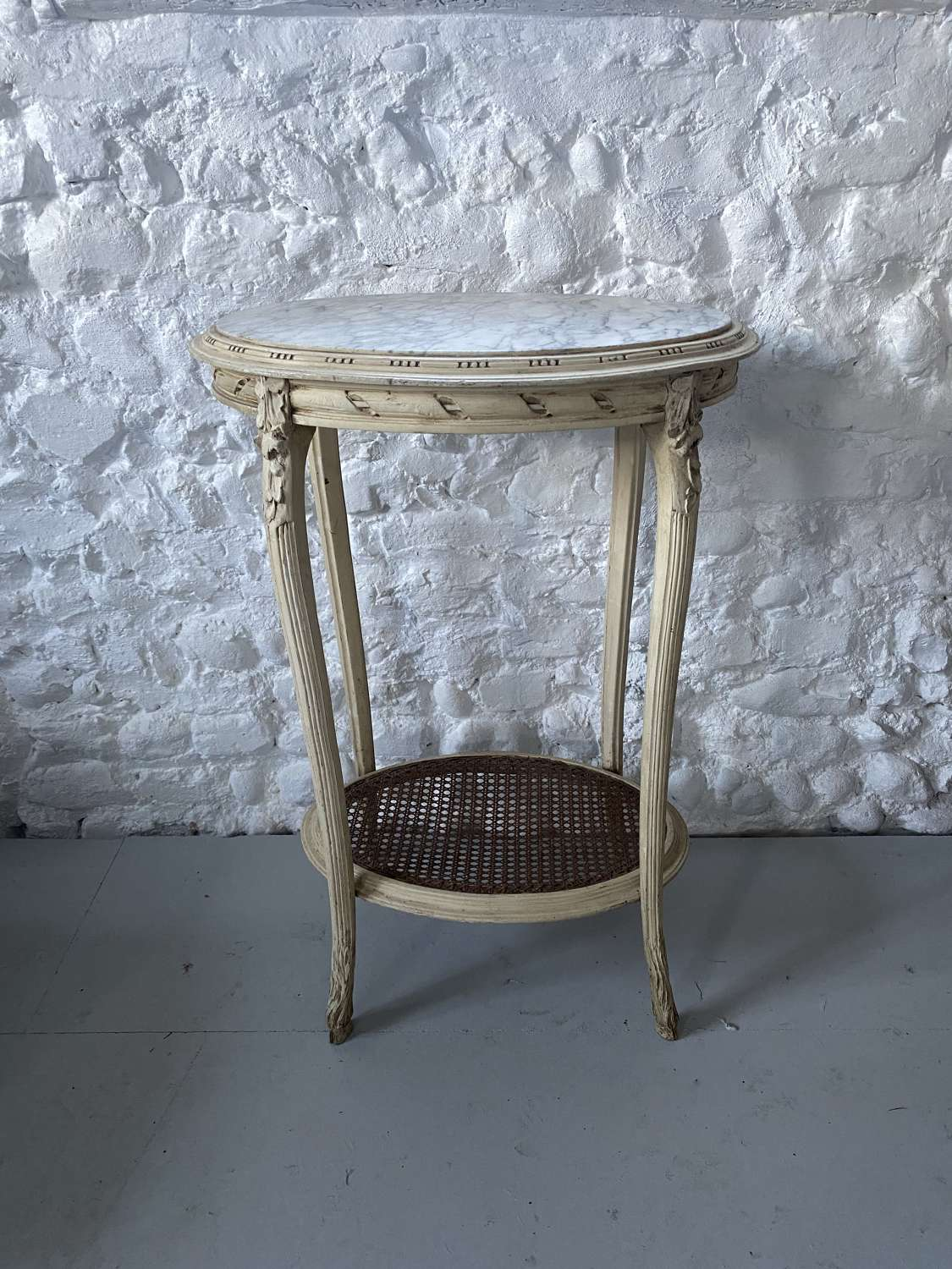 Late Victorian White Marble Top Side Table in Original Paint