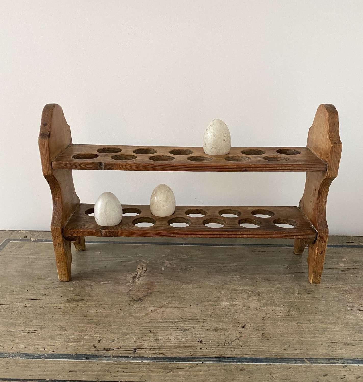 Early 20th Century Pine Two Tier Egg Rack - Two Dozen Eggs