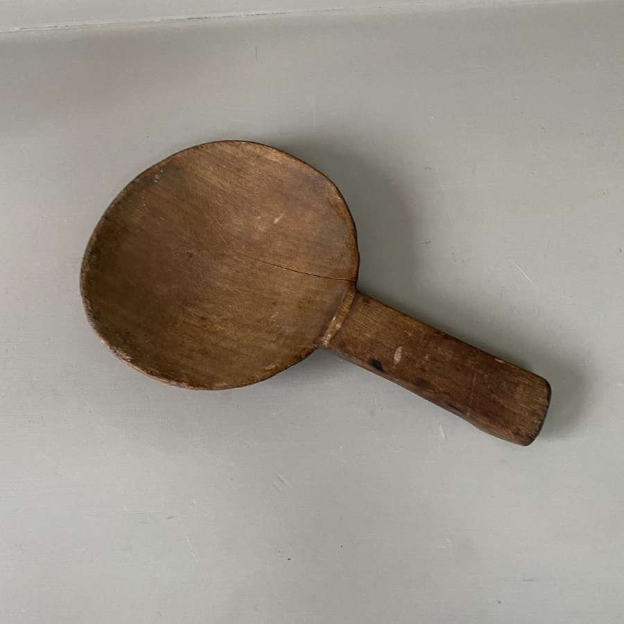 Large Late Victorian Treen Dairy Scoop Skimmer
