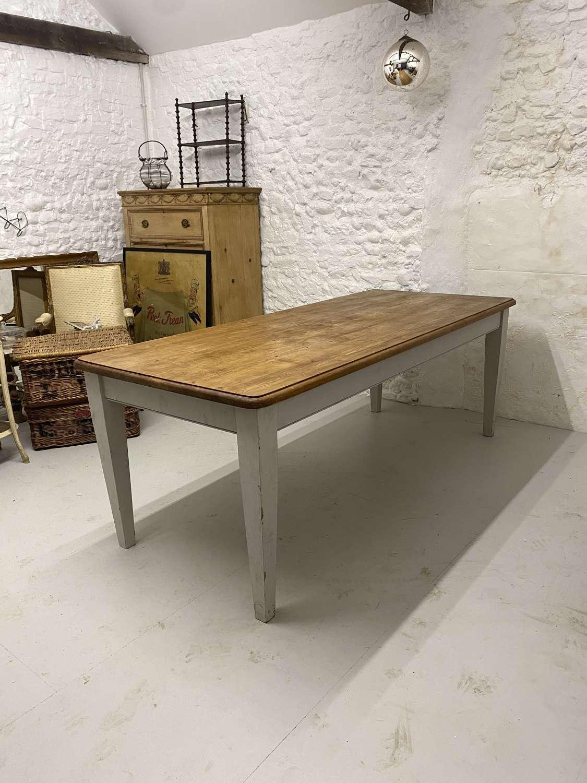 Large Mid Century Pine Kitchen Table - Seats Ten