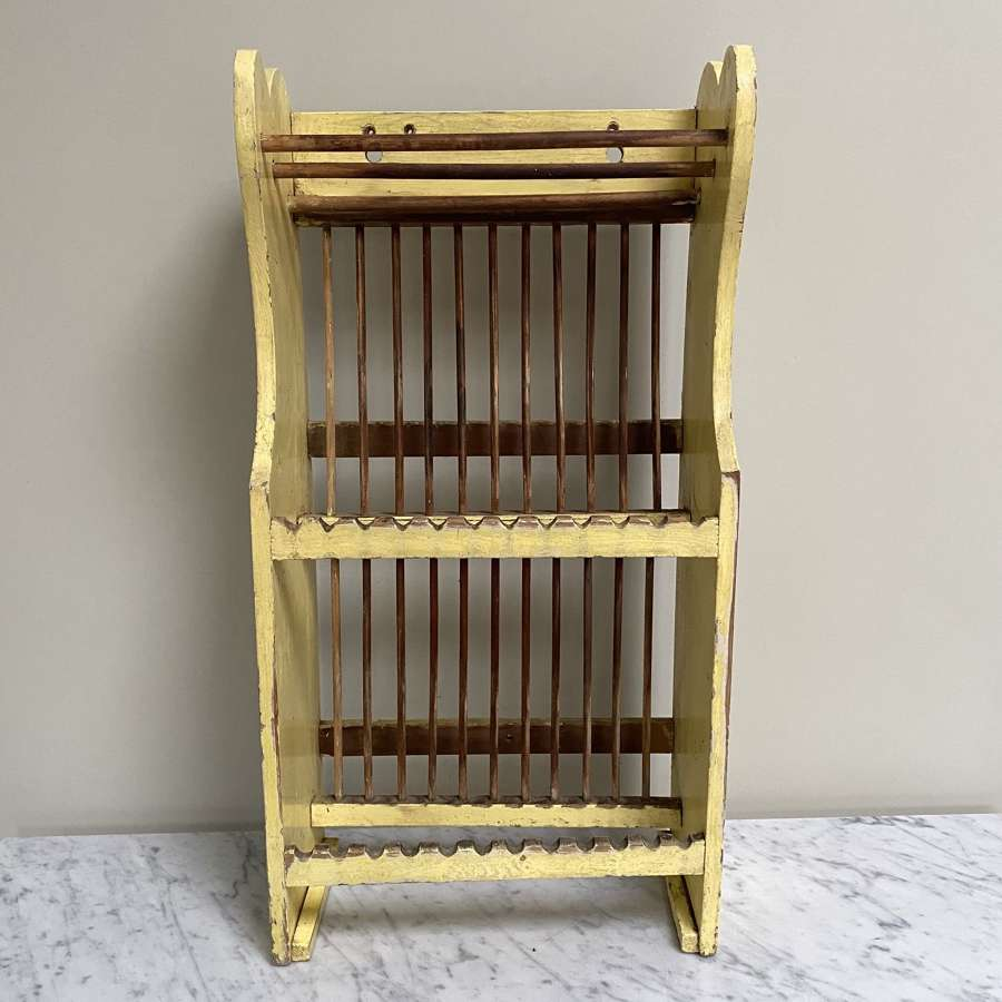 Late Victorian Pine Two Tier Plate Rack - Pretty Shaped Top