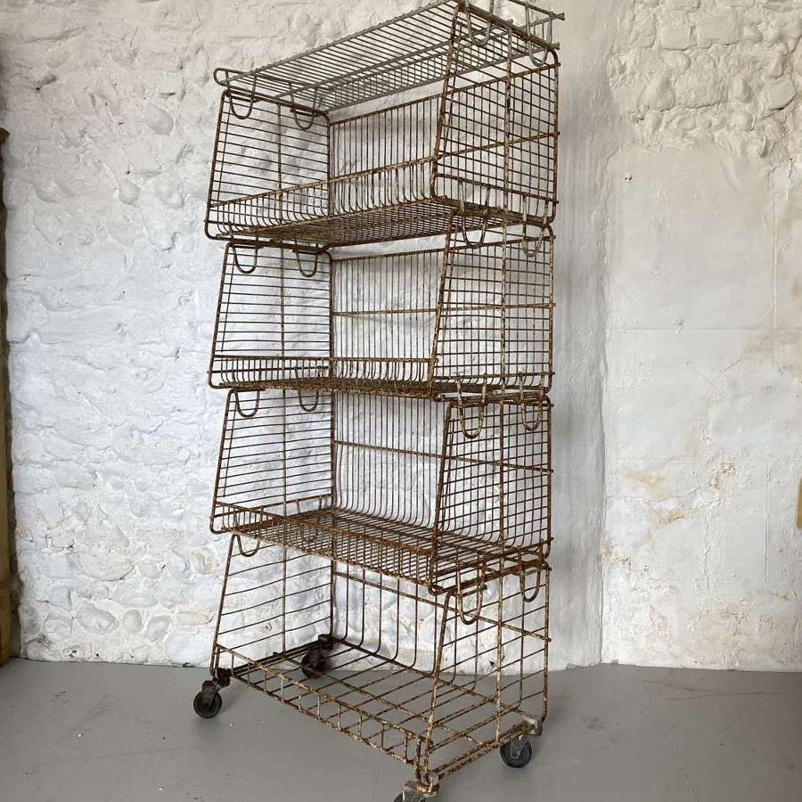 Adjustable Shops Metal Stacking Shelf Unit c1940-50
