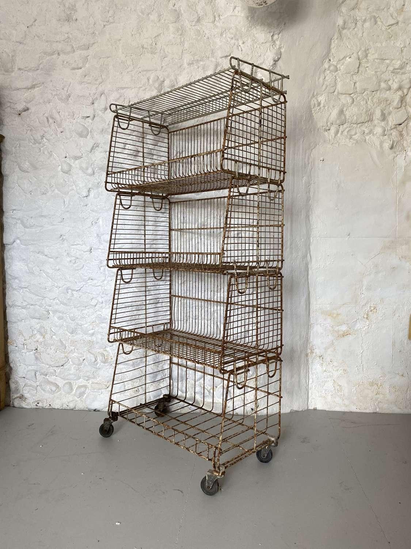 Adjustable Shops Metal Stacking Shelf Unit c1940-50