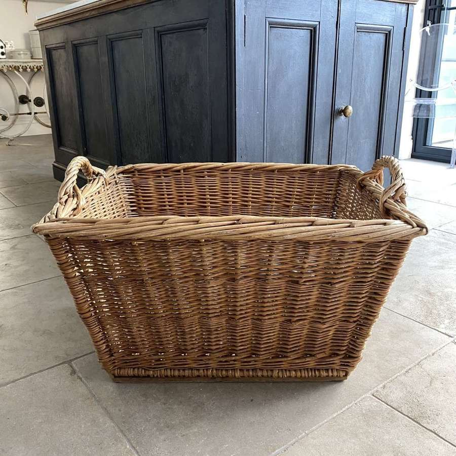 Large Antique Basket with Wooden Slat Base in Excellent Condition