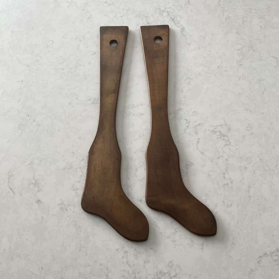 Rare Pair of Victorian Childs Treen Sock Driers - Shapers