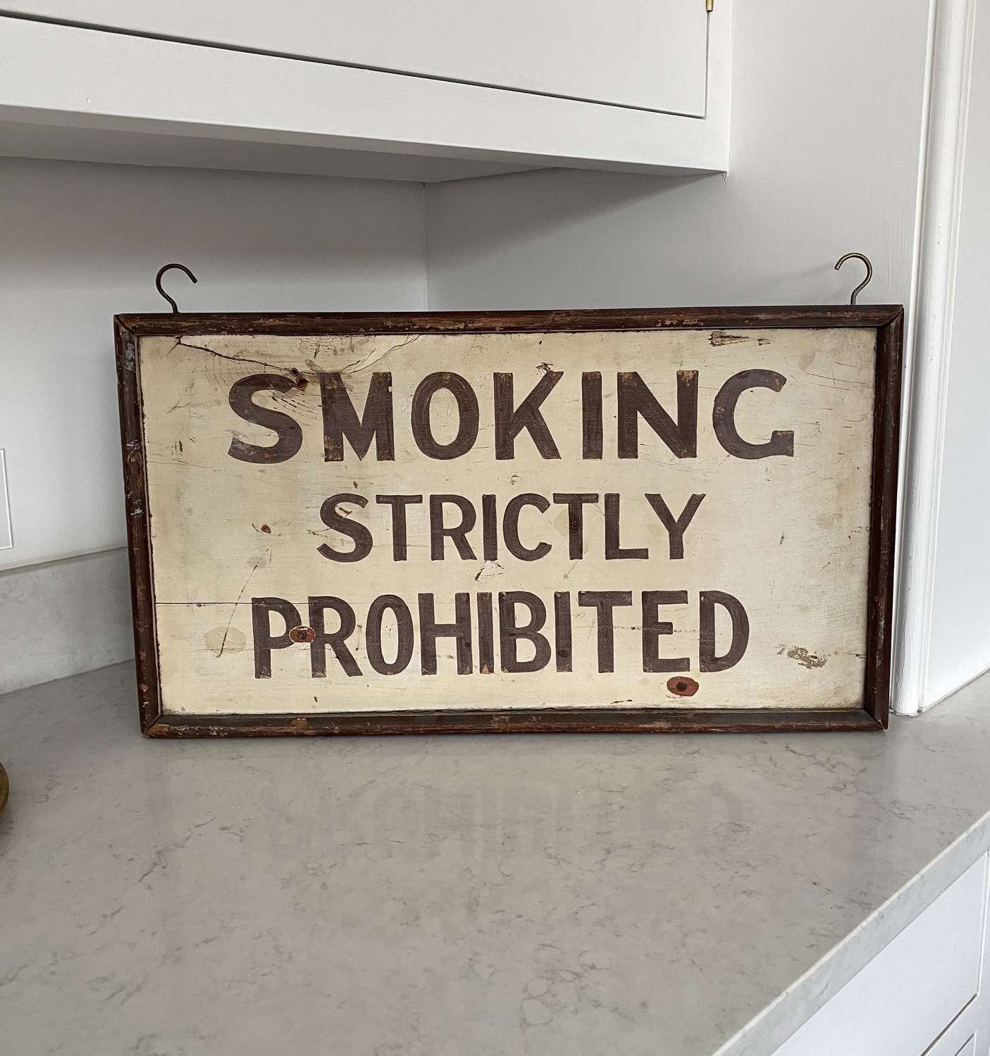 Edwardian Painted Pine Sign - Smoking Strictly Prohibited.