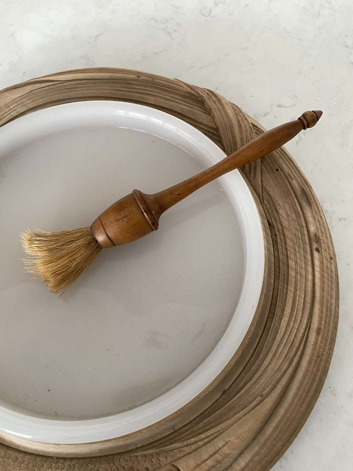 Early 20th Century Treen Sycamore Pastry Brush with Horse Hair